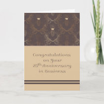 25th Anniversary in Business, Elegant Design Card