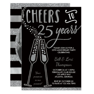 25th Anniversary Invitation, Faux Glitter/Foil Card