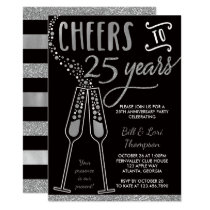 25th Anniversary Invitation, Faux Glitter/Foil Invitation