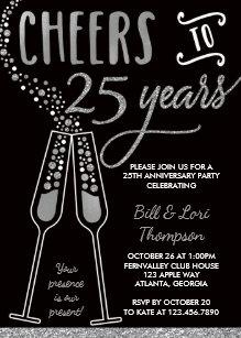 25th anniversary invitations zazzle