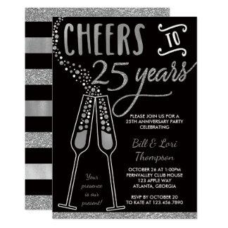25th Anniversary Invitation, Faux Glitter/Foil Invitation