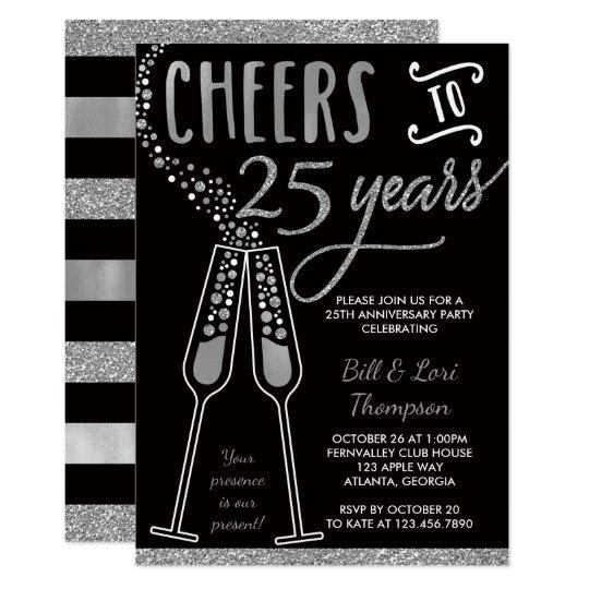 25th Anniversary Invitation Faux GlitterFoil Invitation Zazzlecom