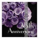 """25th Anniversary Invitation -LILAC PURPLE Roses 5.25"""" Square Invitation Card"""