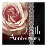 """25th Anniversary Invitation - PINK Rose 5.25"""" Square Invitation Card"""