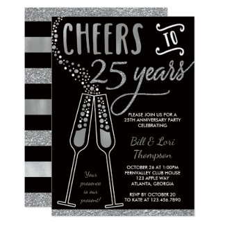 25th Anniversary Invitation, Silver, Black Card