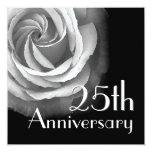 """25th Anniversary Invitation - SILVER Rose 5.25"""" Square Invitation Card"""