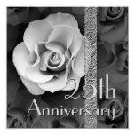 """25th Anniversary Invitation -SILVER Rose 5.25"""" Square Invitation Card"""
