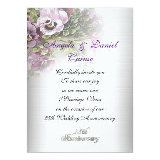 25th anniversary Invitation soft pansies