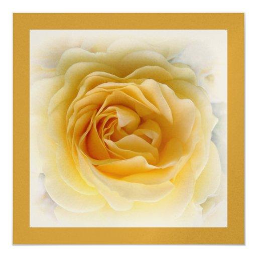 "25th Anniversary Invitation - Soft Teal Rose 5.25"" Square Invitation Card"
