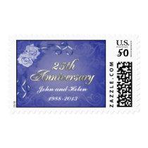25th anniversary Invitation Stamp Blue Roses