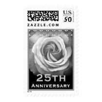 25th Anniversary Invitation WHITE Rose Stamp