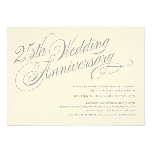 25th Anniversary Invitations 5 X 7 Invitation Card