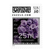 25th Anniversary LAVENDER PURPLE Roses SILVER Lace Postage