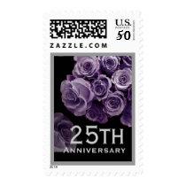 25th Anniversary LAVENDER PURPLE Roses SILVER Trim Postage
