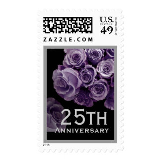 25th Anniversary LAVENDER PURPLE Roses SILVER Trim Postage Stamp