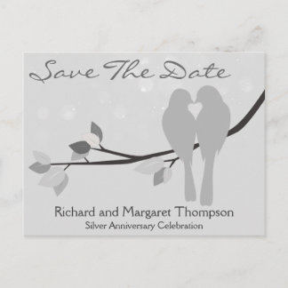 25th Anniversary Lovebirds Save The Date Announcement Postcard