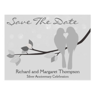 25th Anniversary Lovebirds Save The Date Postcard