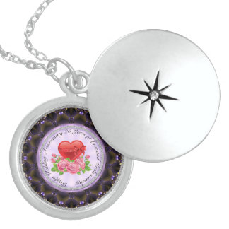 25th Anniversary MediumSterling SilverRoundLocket Sterling Silver Necklace