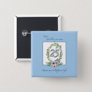 25th Anniversary of Catholic Nun Wreath and Silver Pinback Button