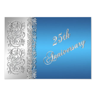 25th Anniversary Ornate Silver Scrolls with Blue Card