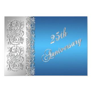 25th Anniversary Ornate Silver Scrolls with Blue Invitation