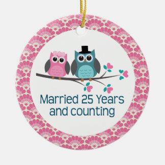 25th Anniversary Owl Wedding Anniversaries Gift Ceramic Ornament