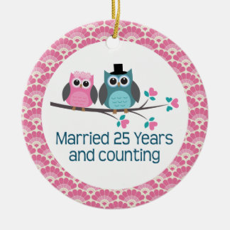 25th Anniversary Owl Wedding Anniversaries Gift Christmas Ornament