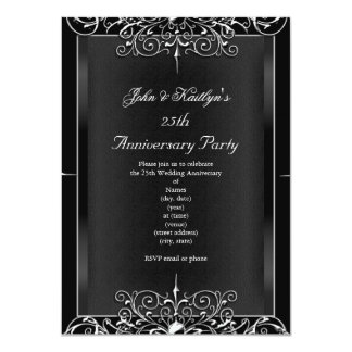 25th Anniversary Party Chalkboard Silver Floral 3 4.5x6.25 Paper Invitation Card