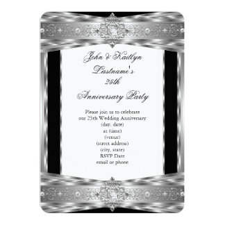 25th Anniversary Party Damask Diamond Silver Black Card