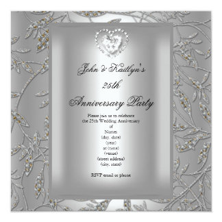 25th Anniversary Party Damask Silver Grey Card