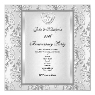 25th Anniversary Party Damask Silver White 2 Card