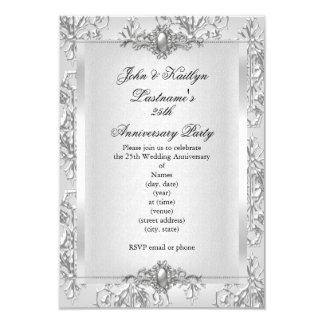 25th Anniversary Party Damask Silver White 3.5x5 Paper Invitation Card