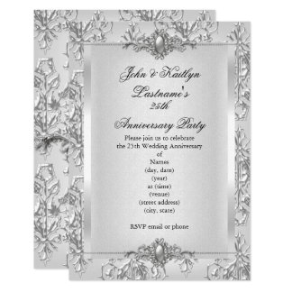 25th anniversary invitations 2700 25th anniversary announcements 25th anniversary party damask silver white card stopboris Images