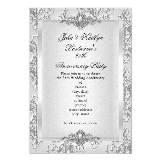 25th Anniversary Party Damask Silver White Personalized Announcements