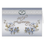 25th Anniversary Party elegant blue floral Greeting Cards