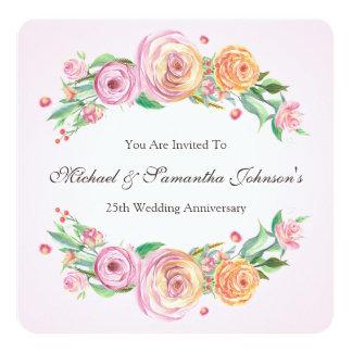 25th Anniversary Party Elegant Floral Invitation