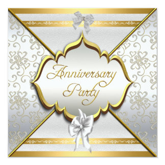 25th Anniversary Party Elegant White Silver Gold Card