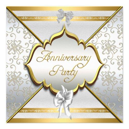 25th Anniversary Party Elegant White Silver Gold Personalized Invitation