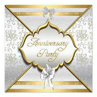 """25th Anniversary Party Elegant White Silver Gold 5.25"""" Square Invitation Card"""