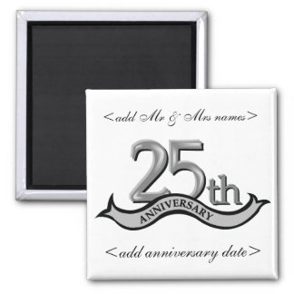 25th Anniversary Party Favors 2 Inch Square Magnet
