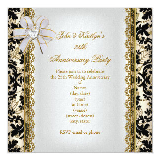 25th Anniversary Party Gold Black Damask White Card
