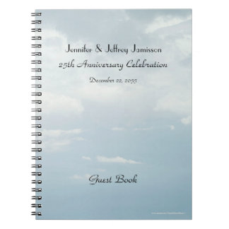 25th Anniversary Party Guest Book, Sky & Clouds Notebook