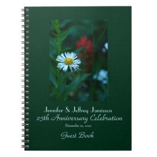 25th Anniversary Party Guest Book White Daisy Spiral Notebook