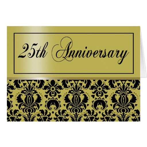 25th Anniversary Party Invitation (Chaucer/golden) Greeting Card