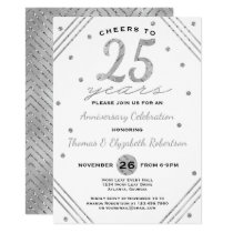 25th Anniversary Party Invitation, Faux Silver Invitation