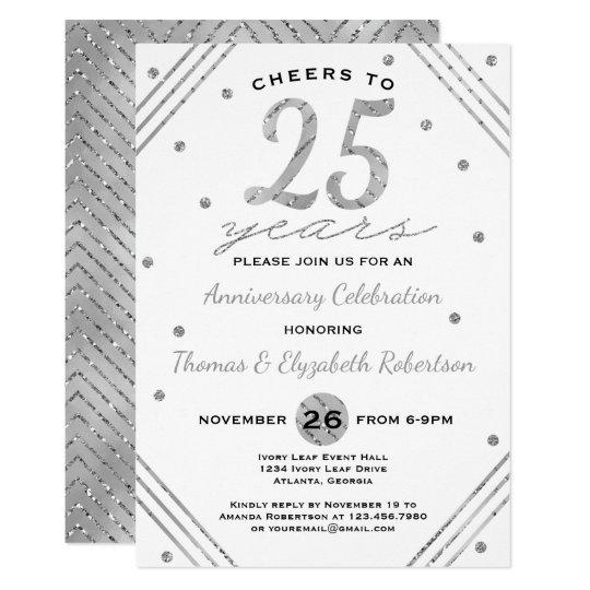 25th Anniversary Party Invitation Faux Silver