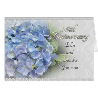 25th anniversary party invitation hydrangeas blue