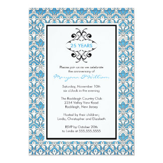 25th Anniversary Party Invitation Turquoise Damask