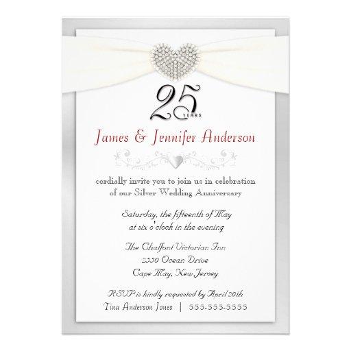 25th Anniversary Party Invitation Vintage Silver 5 X 7 Invitation Card