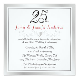 25th Anniversary Party Invitations  Silver Square